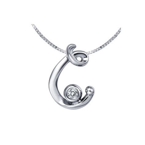 c initial pendant on 10k white gold jewelocean