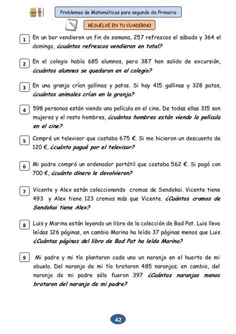 matemticas 3 primaria problemas para segundo de primaria