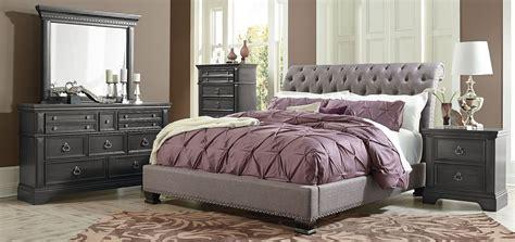 garrison soft grey upholstered bedroom set    standard furniture