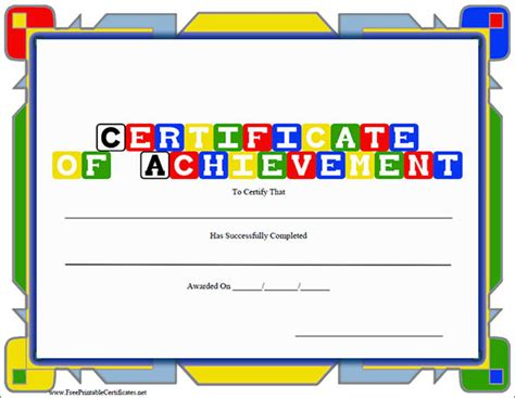 certificate of achievement template for kids certificate