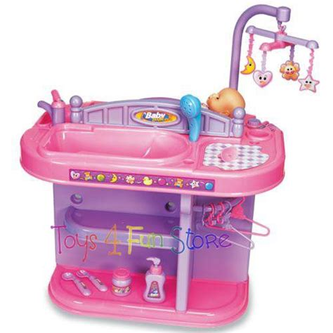 Play Doll Crib Baby Nursery Changing Table Station
