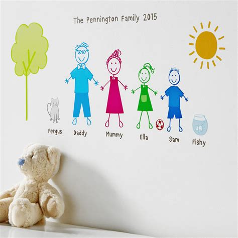 how to stick wall stickers personalised stick family wall sticker portrait by