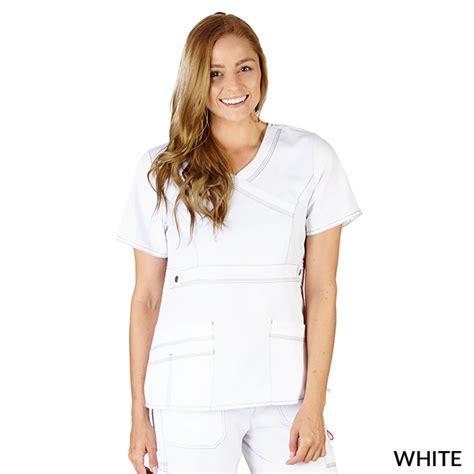 White Soft Strech soft comfort stretch mock wrap top style 8190