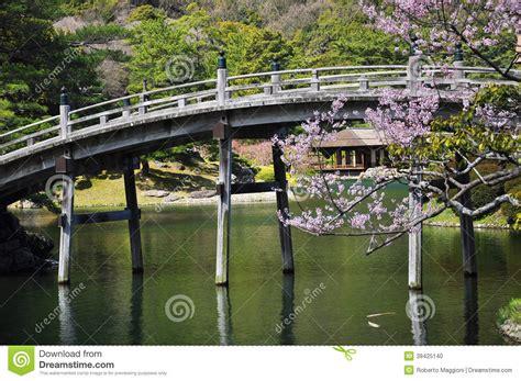Japanese Traditional Garden Wooden Bridge Stock Photo Bridge Traditional