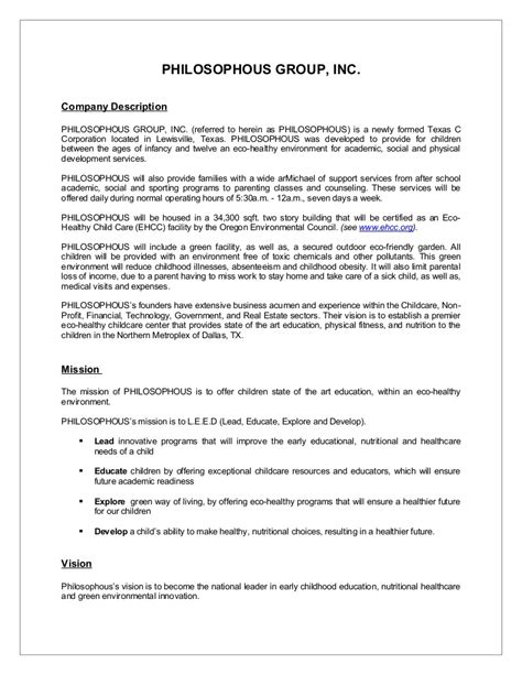 Sle Business Plan Synopsis Performing Arts Business Plan Template