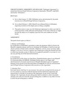 Agreement Letter For Settlement Debt Settlement Agreement Letter Free Printable Documents