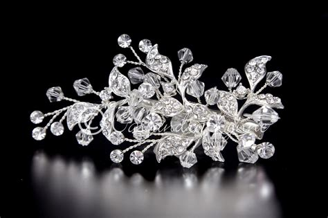 swarovski bridal clip with jeweled leaves