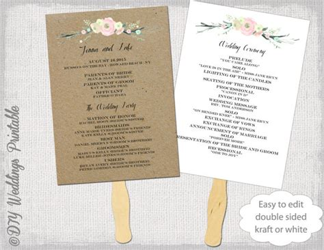 wedding program fan template wedding program fan template rustic flowers diy
