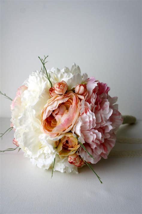shabby chic wedding flowers blush pink and ivory peony bridal bouquet silk wedding flowers vintage wedding rustic wedding