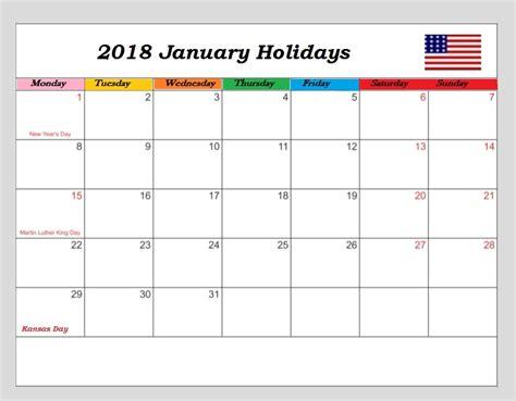 2018 Calendar United States January 2018 Usa Holidays Calendar Calendar 2018