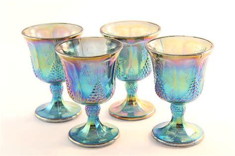 leaf pattern depression glass harvest blue carnival glass goblets 4 grape leaf pattern