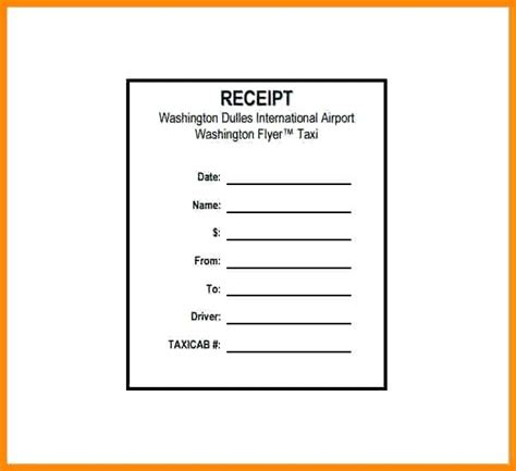 Receipt Template Flyer by Washington Flyer Taxi Receipt National Airport