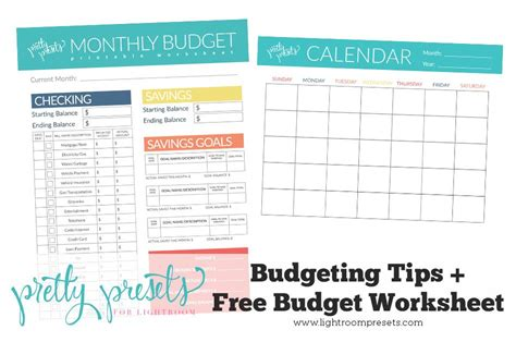 tips and tricks using free printables in home decor budgeting tips free budgeting worksheet pretty presets