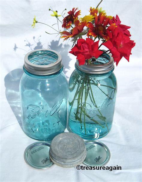 Jar Flower Vase by Jar Vase Flower Frog Lid Antique Blue Jars