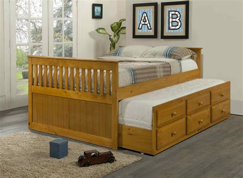 With Trundle Bed by Size Captain S Bed With Trundle And Drawers Honey