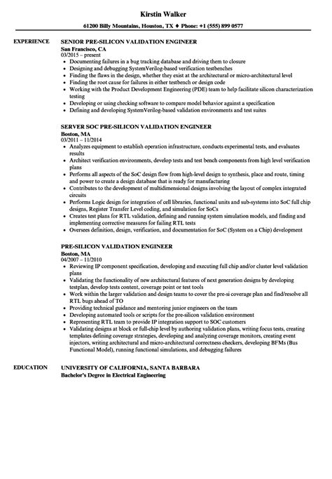 Validation Engineer Resume by Validation Engineer Resume Sle Resume Ideas