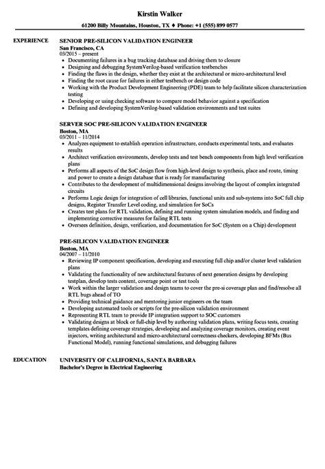 pre silicon validation engineer resume sles velvet