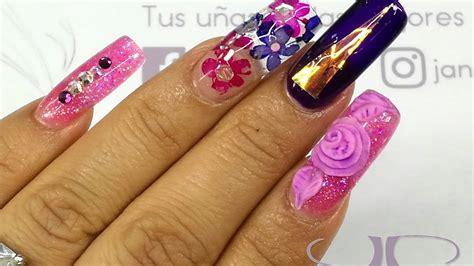 imagenes de uñas acrilicas con swarovski u 241 as acr 237 licas naturaleza muerta rosa y morado
