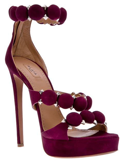 alaia disc  studded sandal  purple lyst