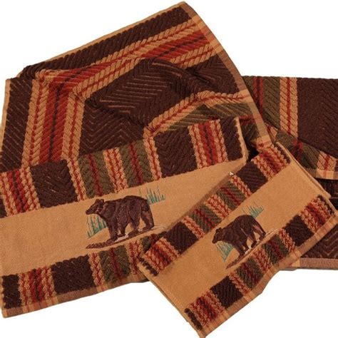 cabin bathroom rugs embroidered bear striped towel set cabin