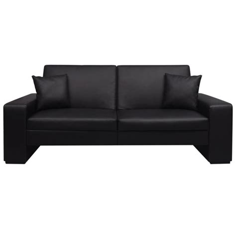 Faux Leather Sofa Bed W 2 Throw Pillows In Black Buy Throw Pillows On Leather Sofa