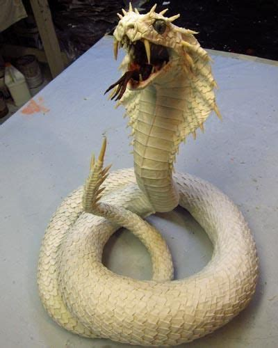 How To Make A Paper Mache Snake - paper mache naga of snakes finished