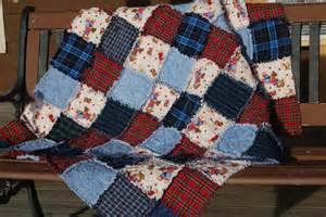 flannel rag quilt cowboy motif blue plaid denim teddy