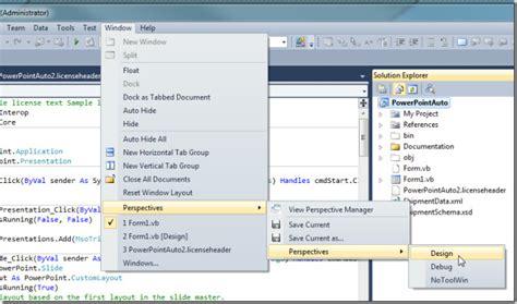 layout menu visual studio 2010 save windows tool panes layouts with visual studio 2010