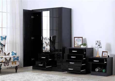 Black Gloss Bedroom Furniture Set Gladini Xl Black High Gloss 3 Bedroom Furniture Set Wardrobe Chest Bedside 163 224 95