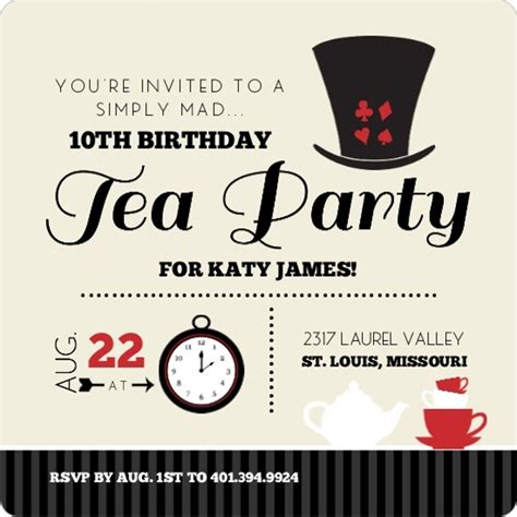 mad hatter hat card template black and mad hatter tea birthday