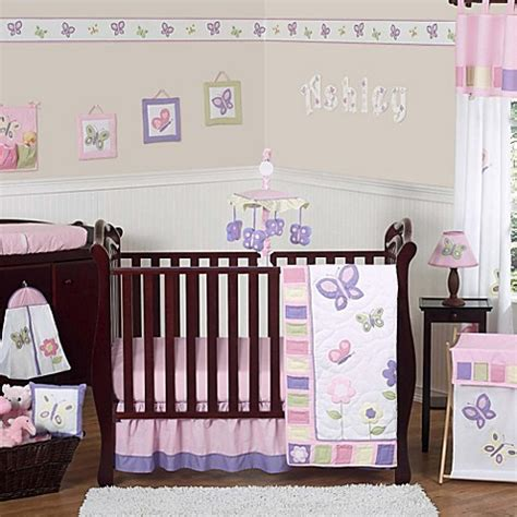 butterfly crib bedding set sweet jojo designs butterfly crib bedding collection in pink purple buybuy baby