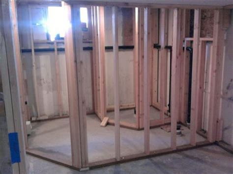 bathroom framing complete angle wall kb basement from
