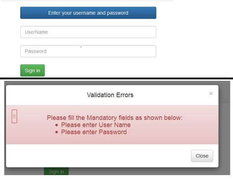 error validation pattern login c show modal state errors one after the other on button