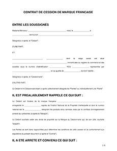 Contrat de Cession de Marque - Modèle conçu par des avocats