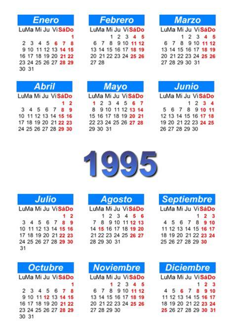 Calendario De 1995 Calendario 1995 Para Imprimir Y Descargar Pdf Abc
