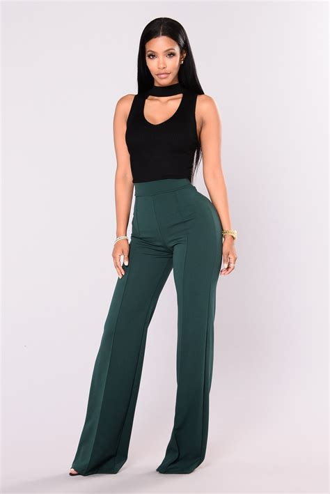 High Waist high waisted dress green