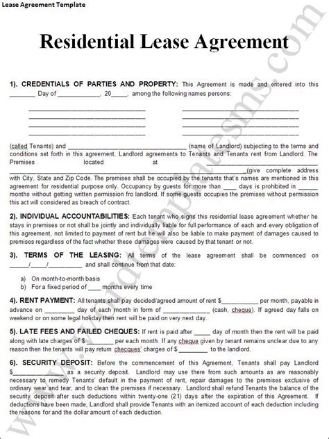 rental contract template rental lease agreement templates free real estate forms