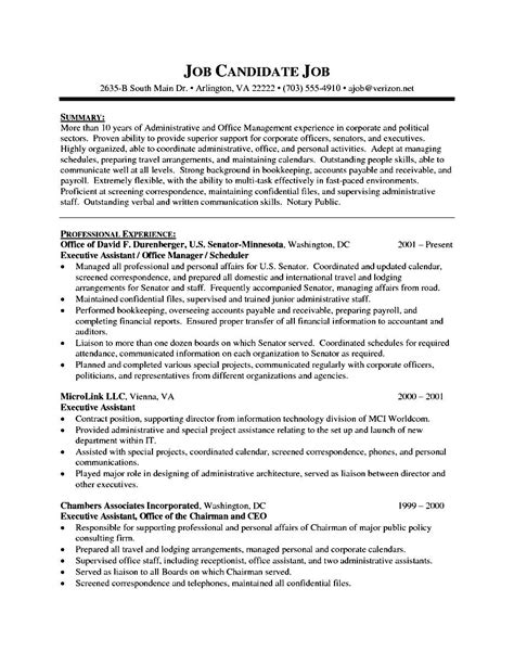 executive administrative assistant resume template free