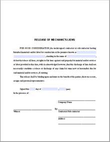 Lien Release Letter For Property Release Of Mechanic S Liens Certificate Template Free Fillable Pdf Forms