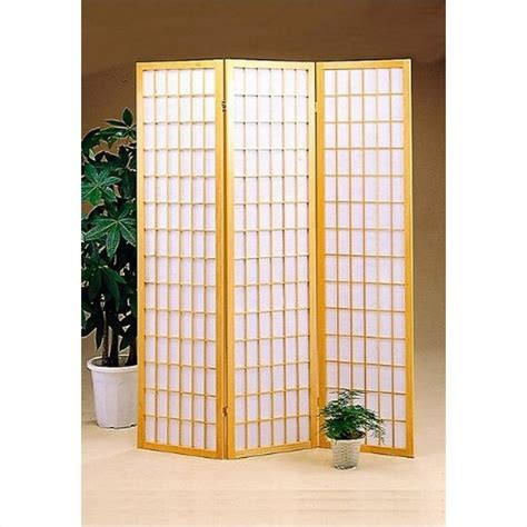 coaster three panel screen room divider in natural 387293
