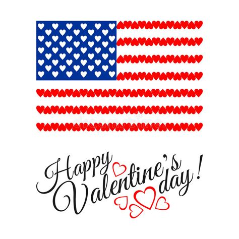 valentines day in america american flag of on white background stock vector