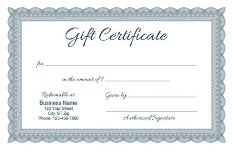 5 gift card template formal gift certificate templates