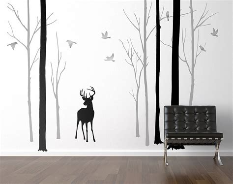forest wall sticker deer in the forest black grey wall sticker by zazous