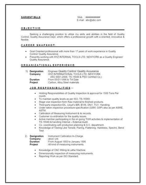 pg resume format fresh and free resume sles for resume format for quality engineer