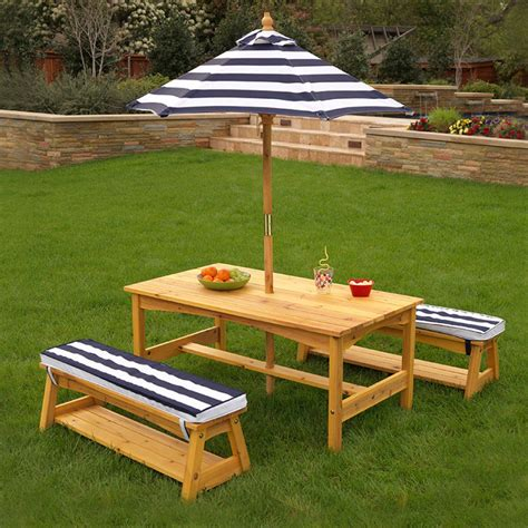 kidkraft table with benches outdoor table bench set with cushions umbrella navy