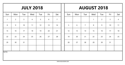printable calendar july august 2018 july and august 2018 calendar printable larissanaestrada com