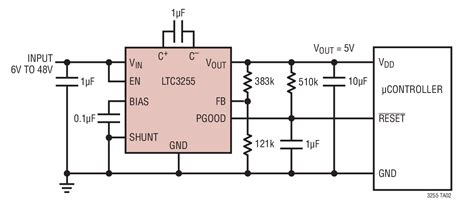 dc dc converter input capacitor solutions ltc3255 wide input range 5v microcontroller supply with power on reset delay