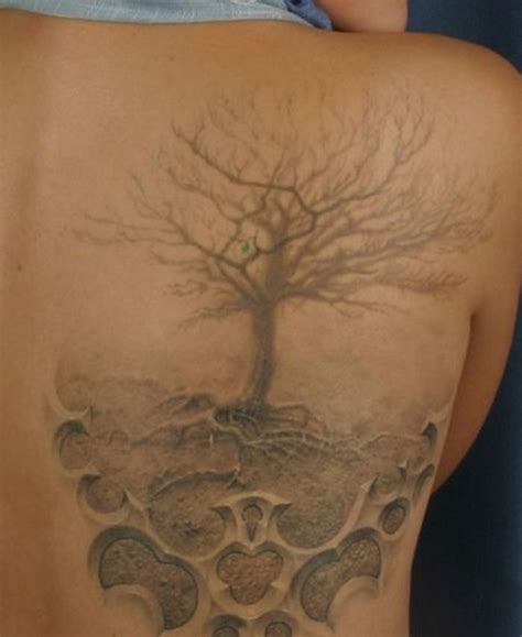 tattoo 3d tree another 3d realistic dead tree with roots soft hazy grey