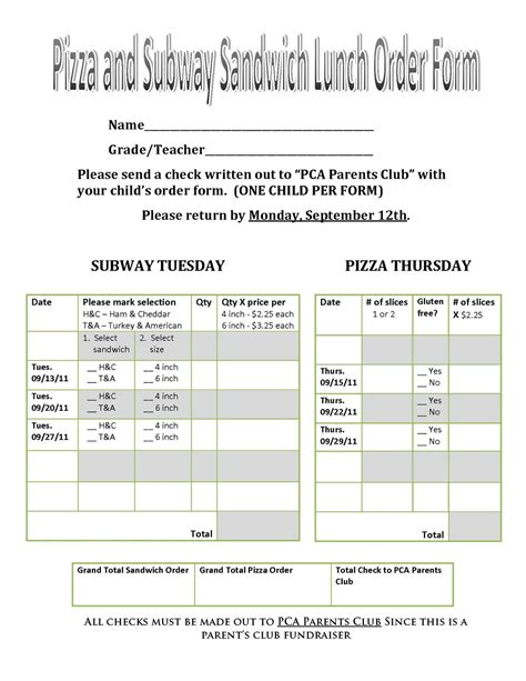 pizza order form template pacific crest academy subway pizza order form