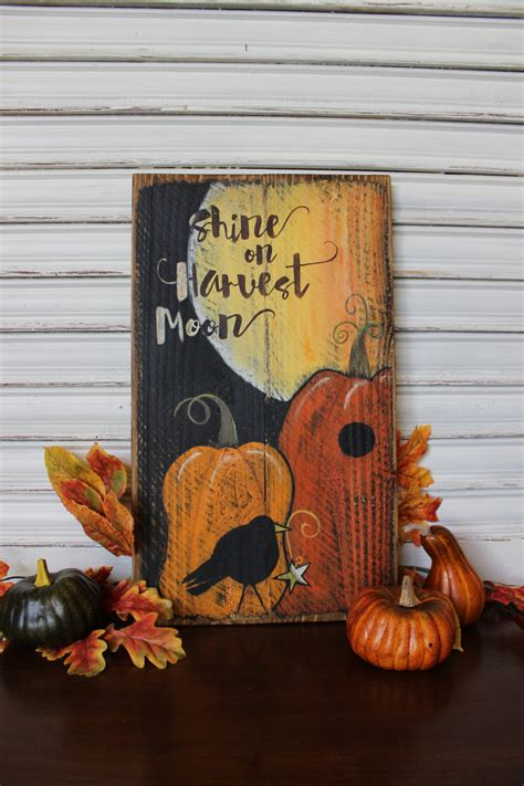 wooden fall decor fall decor wood sign shine on harvest moon harvest
